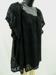 Plus Size 3X SHEER LACE Top STRETCH Shirt LINED Blouse Feminine Evening   NWT #ExtraTouch #KnitTop
