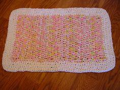 Hand Made Crochet Rag Rug Vintage Linens Cottage by GandTVintage