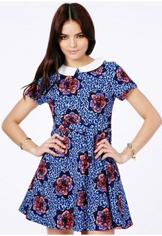 Lucero Flower Print Collared Skater Dress - Dresses - Skater Dresses - Missguided