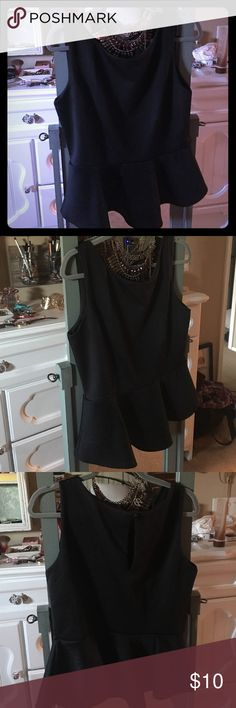 Bisou bisou black peplum top Size large. Excellent condition. Pair with any statement necklace and heels. Bundle and save Bisou Bisou Tops Blouses
