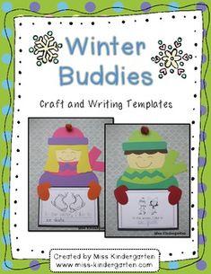 Winter Buddies- Craft and Writing Templates January bulletin board Miss Kindergarten, Kindergarten Smorgasboard, Kindergarten Writing, Writing Activities, Language Activities, Literacy, Winter Fun, Winter Theme, Winter Ideas