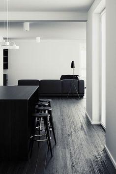 white walls, dark floors living space
