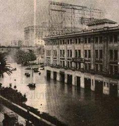 1929 - A maior enchente no centro de São Paulo onde temos a praça do Correio, avenida São João e o Vale do Anhangabau.