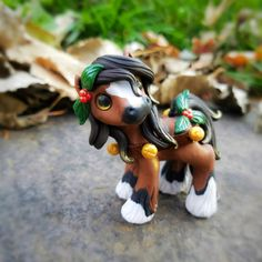 Christmas Jingle Bells Bay Clydesdale  Filly By Whisper Fillies Whisperfillies.etsy.com Unique handmade polymer clay horse, pony, unicorn and fantasy creatures  Find me on Instagram and Facebook too!