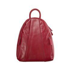 Teardrop Leather Backpack Handbag ($155) ❤ liked on Polyvore featuring bags, backpacks, knapsack, leather knapsack, red leather backpack, leather zip pouch and strap backpack