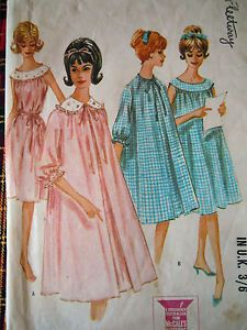 duster jacket and yoked nightdress vintage 1960s Mccalls sewing pattern  Bust 36   UK seller - Free postage