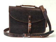 Brown Pull-Up Leather Messenger Briefcase - The Heist by GillieLeather on Etsy
