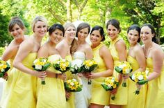 Mix & match yellow styles on Brideside Real Weddings. Yellow Bridesmaid Dresses, Bridesmaids, Wedding Dresses, Alfred Sung, Yellow Fashion, Yellow Wedding, Mix Match, Real Weddings, Inspiration