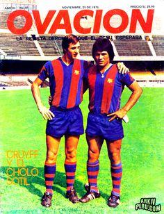 "Johan Cruyff & ""Cholo"" Sotil, F.C. Barcelona 1985"