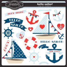 Bonjour Sailor Clip Art Collection nautique sur le thème