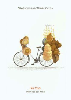 [Illustrations] Local Illustrators Bring Saigon's Street Carts to Life - Saigoneer Amazing Drawings, Realistic Drawings, Indian Illustration, Car Illustration, Realistic Rose, Food Poster Design, Indian Folk Art, Food Drawing, Food Art
