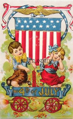 Fourth of July of July. Great site for vintage postcards and images. 4th Of July Celebration, 4th Of July Party, Fourth Of July, Vintage Greeting Cards, Vintage Postcards, Vintage Images, Vintage Clip, Vintage Ephemera, Vintage Style