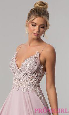 Image of long v-neck open-back chiffon prom dress by PromGirl. Style: ZG-PL-32754 Detail Image 1
