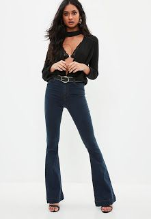 So we have been seeing a bit of dark denim trend at the moment, now denim in general is having a bit of a moment still but thought it might. Denim Trends, Dark Denim, Missguided, Bell Bottoms, Bell Bottom Jeans, Pants, Fashion, Trouser Pants, Moda