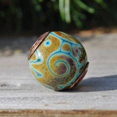 Turquoise Trails   Cored 'n Capped K O Lampwork by koregon on Etsy, $26.00
