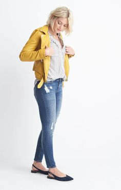Love the pop of yellow. I don't know if I'd be bold enough to pull off a whole jacket but love the pop of color