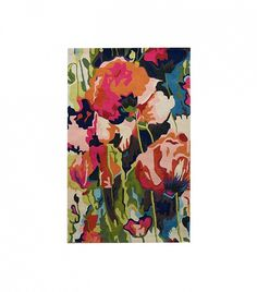 Anthropologie Chain-Stitched Poppies Rug