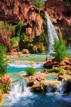 Grand Canyon falls - Amazing havasu falls in Grand Canyon Havasupai Indian Reservation Arizona Grand Canyon Falls, Grand Canyon National Park, National Parks, Beautiful Nature Pictures, Nature Photos, Beautiful Scenery, Bahamas Vacation, Vacation Spots, The Places Youll Go