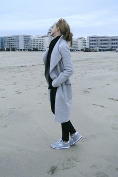 long grey coat by Zara