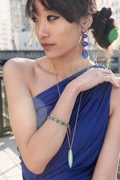 The Sixth Tractate wearing Jami! Etta Necklace in Mint and the Ella Bracelet in Teal.