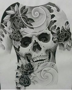 from - Custom artwork by . Chest And Back Tattoo, Full Back Tattoos, Chest Tattoo, Skull Tattoos, Body Art Tattoos, Sleeve Tattoos, Japanese Tattoo Art, Japanese Tattoo Designs, Tattoo Studio