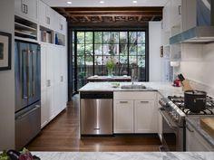 West Philadelphia Kitchen - contemporary - kitchen - philadelphia - Hanson General Contracting, Inc.  Open shelves above fridge
