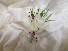 Boutonniere - White Cymbidium Orchids, Pink Gem Spray accents, Robellini  2016 White Boutonniere, Corsage And Boutonniere, Cymbidium Orchids, Graduation, Gems, Pink, Rose, Gemstones