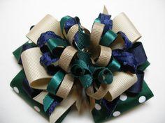 Big Back to School Uniform Hair Bow Forest Dark Green Polka Dot Navy Blue Khaki Tan Korker Large Bou, Girl Hair Bows, Girls Bows, Back To School Uniform, Hair Decorations, Ribbon Art, Diy Bow, Cute Designs, Hair Jewelry, Grosgrain Ribbon