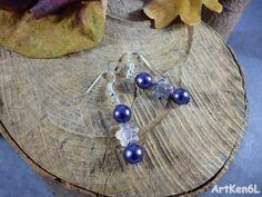 Purple pearl earrings and pearl flower metal style par ArtKen6L
