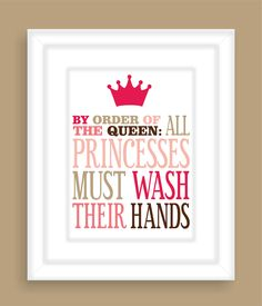 Princess Bathroom Art Print Girls bathroom wall by FieldandFlower, $12.00