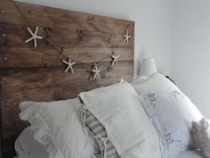 DIY tutorial for this cute beach cottage style headboard