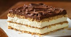 Delight the whole crowd with our delectably airy Graham Cracker Eclair Cake. Graham cracker layers become cake-like and soft alongside the pudding. -- use GFOAS vanilla pudding mix, GF graham crackers and dark chocolate -- make a GF version 13 Desserts, Delicious Desserts, Dessert Recipes, Kraft Recipes, Kraft Foods, Beef Recipes, Healthy Recipes, Chocolate Eclair Cake, Chocolate Frosting