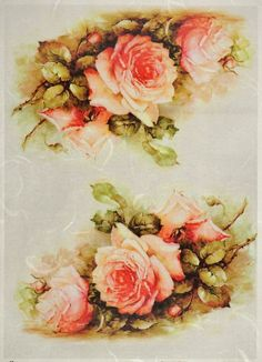 Rice Paper for Decoupage Decopatch Scrapbook Craft Sheet Painted Roses Bouquets