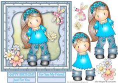 Chloe With Daisies on Craftsuprint designed by Carol James - A very cute card front for any ladies in your life. Comes with decoupage pieces for a 3d effect. 3 sentiment tags and a blank are provided. Greetings included are:Happy Birthday For You My FriendJust For YouCan be used for a variety of occasions. - Now available for download!