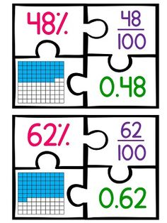 Fractions decimals and percents puzzle math center! W hat a fun way to practice the skill! Teaching Fractions, Math Fractions, Teaching Math, Math Math, Math Strategies, Math Resources, Math Activities, Fifth Grade Math, Math Intervention