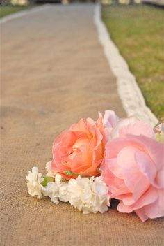 Crochet Ivory Lace Trimmed Burlap Wedding Aisle Runner by Jessmy