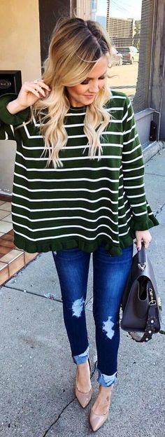 #winter #outfits  green and white stripe long-sleeved blouse