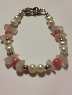 "Carolyn Pollack Bracelet Sterling Silver Rhodonite Pink Quartz Freshwater Pearls 7.5"" Vintage Jewelry Relios Southwestern Christmas Gift on Etsy, $43.00"