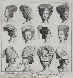 twelve fashionable head-dresses 1775 ..WAW It make me thanks GOD that I belong to this century :))