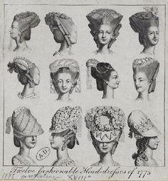 twelve fashionable head-dresses 1775