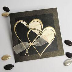 golden herzen band quadratische einladungen zur hochzeit Love Cards, Thank You Cards, Wedding Cards, Wedding Invitations, Wedding Stuff, Happy Birthday Cards, Love And Marriage, Greeting Cards Handmade, Valentines