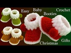 Crochet Ideas Easy Crochet Easy Baby Booties For Christmas – Crochet Ideas Crochet Baby Boots, Crochet Bebe, Crochet Slippers, Easy Crochet, Baby Booties, Baby Shoes, Diy Crafts Crochet, Christmas Crochet Patterns, Christmas Fabric