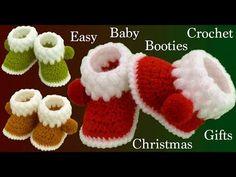 Crochet Ideas Easy Crochet Easy Baby Booties For Christmas – Crochet Ideas Crochet Baby Boots, Crochet Bebe, Crochet Slippers, Easy Crochet, Christmas Crochet Patterns, Christmas Fabric, Crochet Christmas, Christmas Baby, Baby Booties