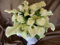 Wedding bouquet, White, calla lily, rose bouquet