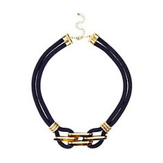 Navy gold detail rope short necklace