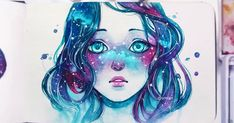 """Drawing the Soul """"Starred Freckles"""" Beautiful watercolor + gouache painting by Qinni Art And Illustration, Art Manga, Anime Art, Art Galaxie, Qinni, Bel Art, Anime Kunst, Ouvrages D'art, Galaxy Art"""