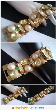 Beautiful Fuchsia /& Rose Rhinestone Fold-Over Cuff Bracelet