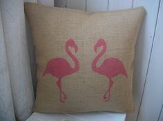 Hand Printed Pink Flamingo Rustic Hessian by RusticCountryCrafts on Etsy