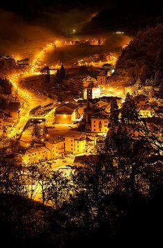 Branzi by night, Bergamo, Italy province of Bergamo , Lombardy