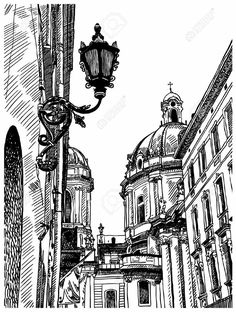 Architecture Drawing Discover digital drawing of Lviv (Ukraine) historical avenue Digital Drawing Of Lviv (Ukraine) Historical Avenue Royalty Free Cliparts Vectors And Stock Illustration. Architecture Drawing Sketchbooks, Watercolor Architecture, Architecture Art, City Drawing, Perspective Art, Landscape Drawings, Urban Sketching, Art Drawings Sketches, Ink Pen Drawings